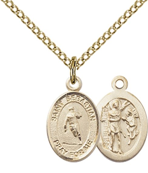 "14KT GOLD FILLED ST SEBASTIAN-RUGBY PENDANT WITH CHAIN - 1/2"" x 1/4"""