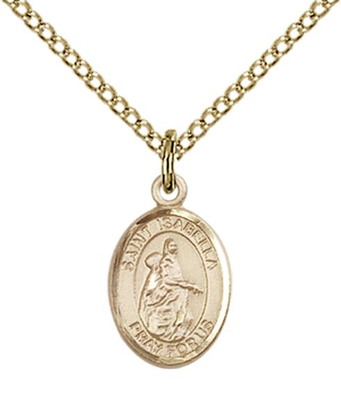 "14KT GOLD FILLED ST ISABELLA OF PORTUGAL PENDANT WITH CHAIN - 1/2"" x 1/4"""