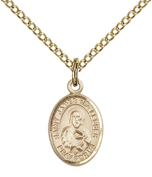 "14KT GOLD FILLED ST JAMES THE LESSER PENDANT WITH CHAIN - 1/2"" x 1/4"""