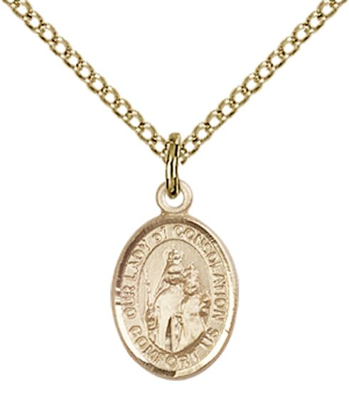 "14KT GOLD FILLED OUR LADY OF CONSOLATION PENDANT WITH CHAIN - 1/2"" x 1/4"""