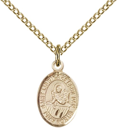 "14KT GOLD FILLED ST LIDWINA OF SCHIEDAM PENDANT WITH CHAIN - 1/2"" x 1/4"""