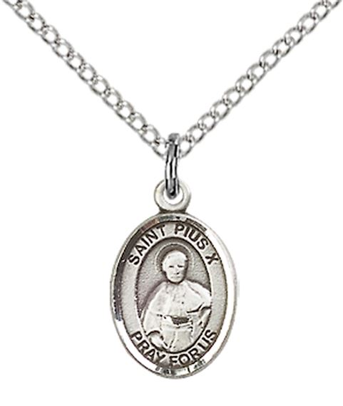 "STERLING SILVER ST PIUS X PENDANT WITH CHAIN - 1/2"" x 1/4"""