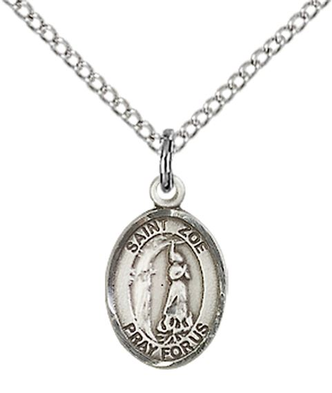 "STERLING SILVER ST ZOE OF ROME PENDANT WITH CHAIN - 1/2"" x 1/4"""