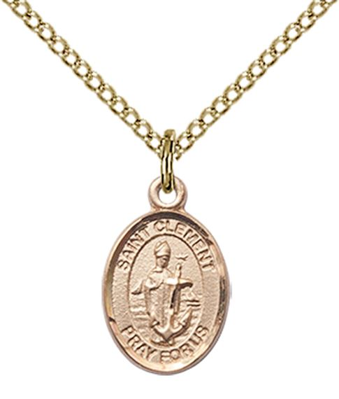 "14KT GOLD FILLED ST CLEMENT PENDANT WITH CHAIN - 1/2"" x 1/4"""