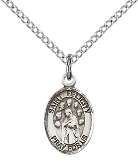 "STERLING SILVER ST FELICITY PENDANT WITH CHAIN - 1/2"" x 1/4"""