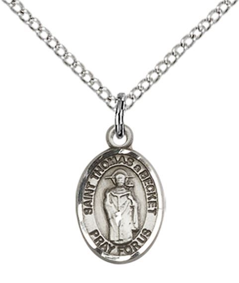 "STERLING SILVER ST THOMAS A BECKET PENDANT WITH CHAIN - 1/2"" x 1/4"""