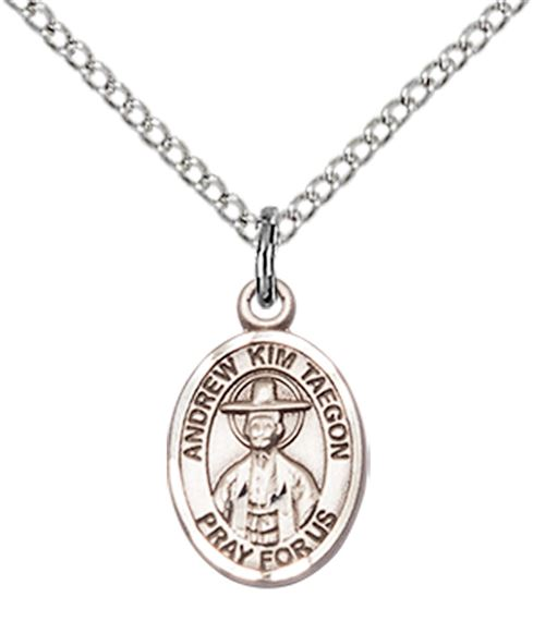 "STERLING SILVER ST ANDREW KIM TAEGON PENDANT WITH CHAIN - 1/2"" x 1/4"""