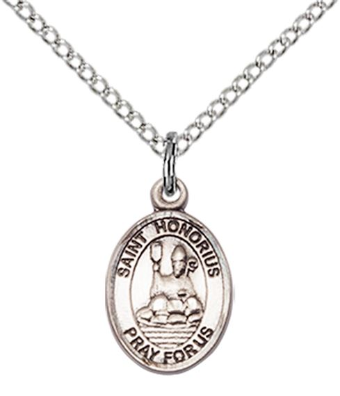 "STERLING SILVER ST HONORIUS PENDANT WITH CHAIN - 1/2"" x 1/4"""