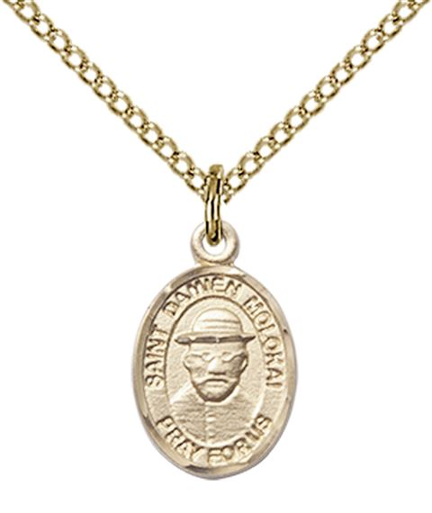"14KT GOLD FILLED ST DAMIEN OF MOLOKAI PENDANT WITH CHAIN - 1/2"" x 1/4"""