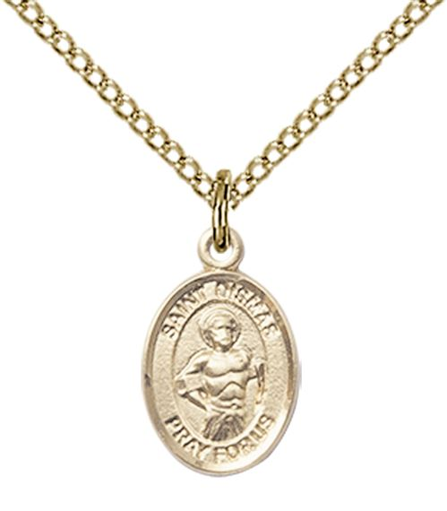 "14KT GOLD FILLED ST DISMAS PENDANT WITH CHAIN - 1/2"" x 1/4"""