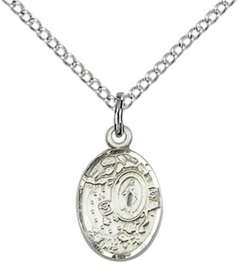 "STERLING SILVER MIRACULOUS PENDANT WITH CHAIN - 1/2"" x 1/4"""