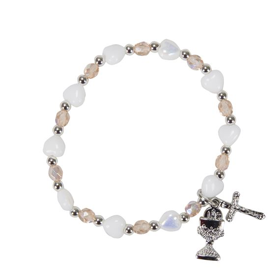 WHITE HEART COMMUNION BRACELET