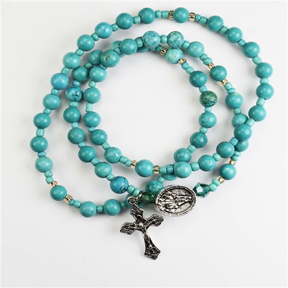 TURQUOISE TWISTABLE WRAP ROSARY BRACELET