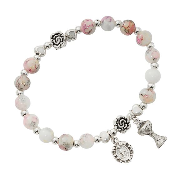 FIRST COMMUNION STRETCH BRACELET PINK MARBLE
