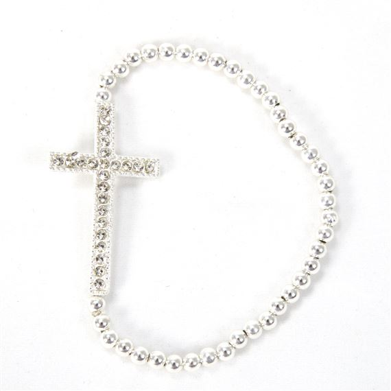 SILVER BEADED CROSS STRETCH BRACELET