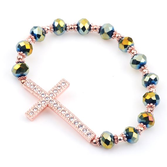 COPPER & GREEN CRYSTAL CROSS STRETCH BRACELET