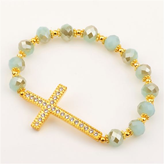 GOLD & AQUA CRYSTAL CROSS STRETCH BRACELET