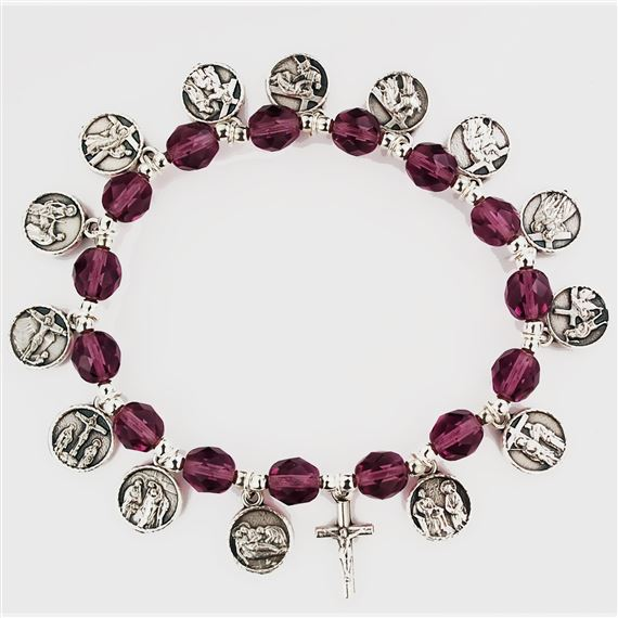 PURPLE BEAD STATIONS OF THE CROSS BRACELET