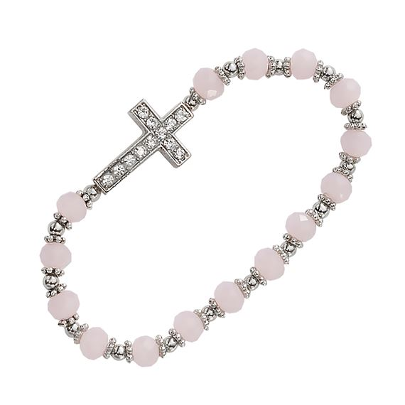 CHILD'S PINK STONE CROSS STRETCH BRACELET