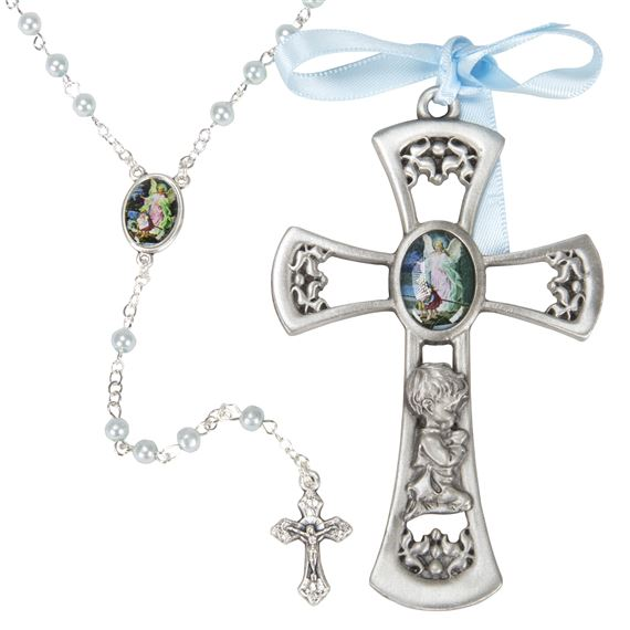 PEWTER CRIB CROSS AND ROSARY SET - BOY