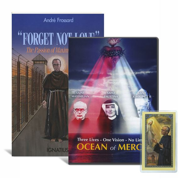 ST. MAXIMILIAN KOLBE BOOK & DVD SET WITH HOLY CARD
