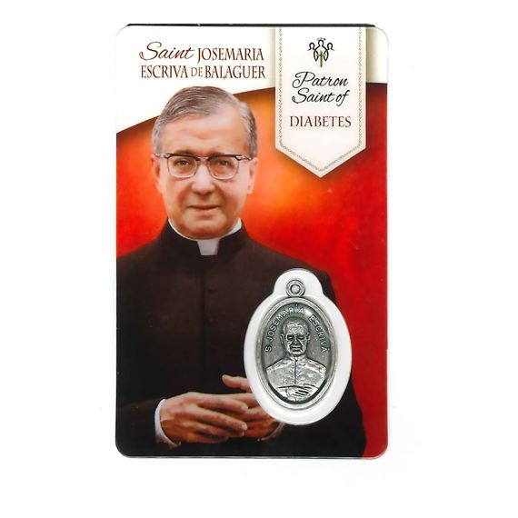 HEALING SAINT JOSEMARIA - HOLY CARD WITH MEDAL