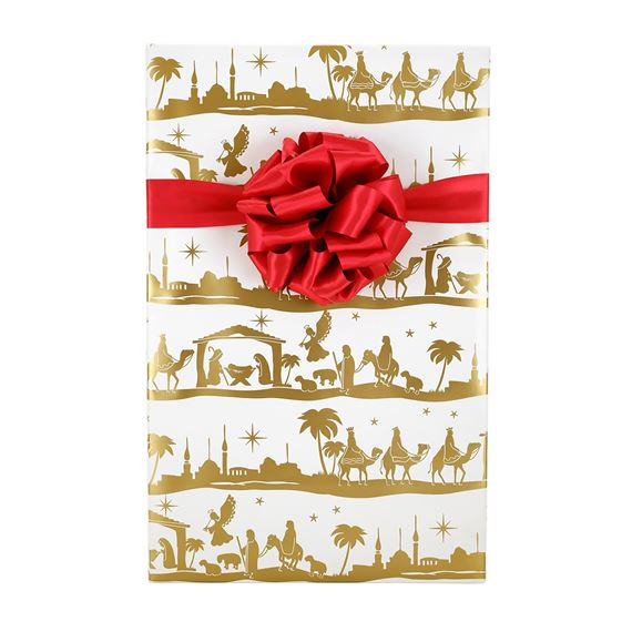 NATIVITY GOLD AND WHITE CHRISTMAS GIFT WRAP