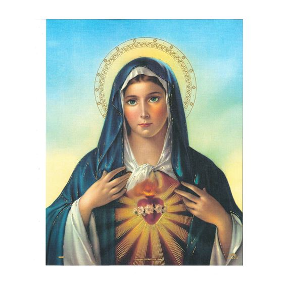 IMMACULATE HEART OF MARY UNFRAMED PRINT 8 X 10