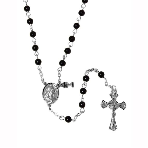 BLACK BEAD FIRST COMMUNION ROSARY