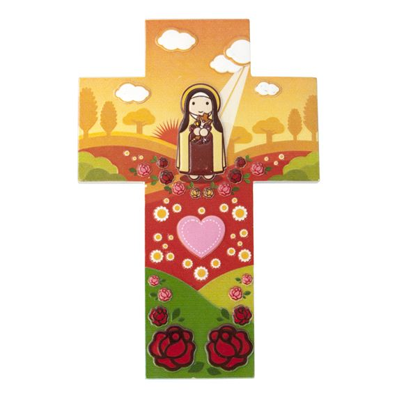 ST. THERESE OF LISIEUX CHILDREN'S CROSS PLAQUE