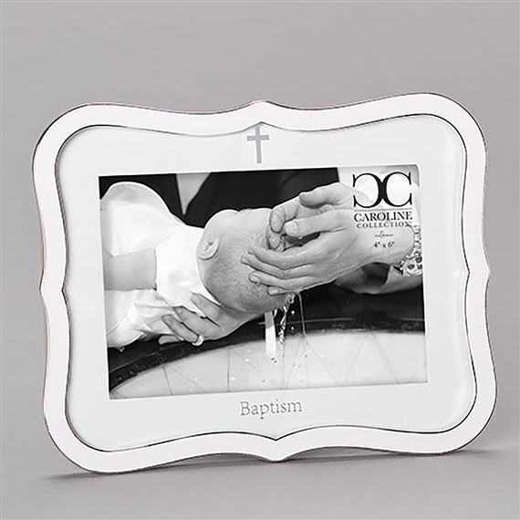 WHITE BAPTISM PICTURE FRAME