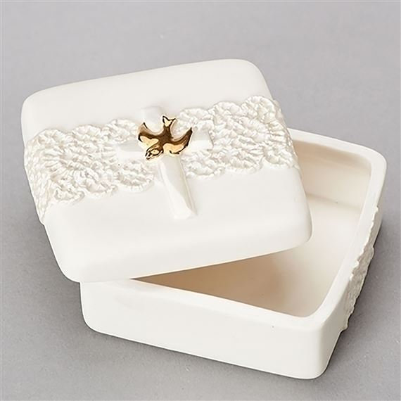 HOLY SPIRIT ROSARY BOX WITH LACE DETAIL