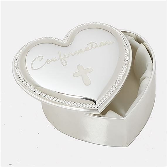 CONFIRMATION HEART SHAPED ROSARY BOX