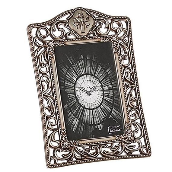 ANTIQUED FILIGREE CONFRIMATION FRAME