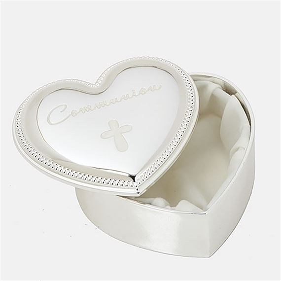 FIRST COMMUNION HEART SHAPED ROSARY BOX