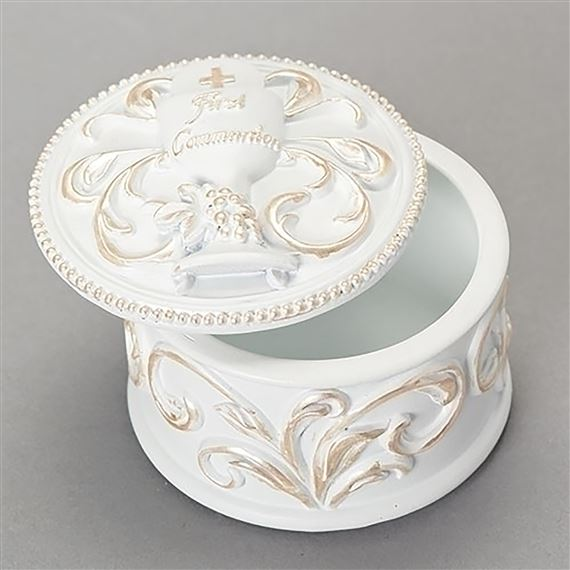 FIRST COMMUNION ROSARY BOX WHITE AND GOLD
