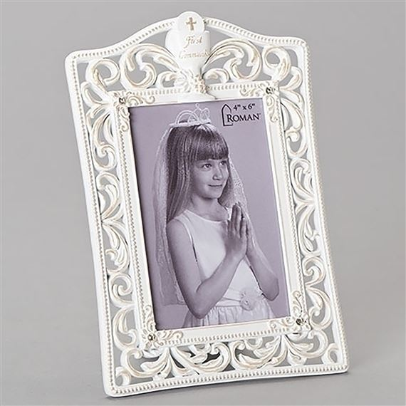 WHITE FILIGREE FIRST COMMUNION FRAME