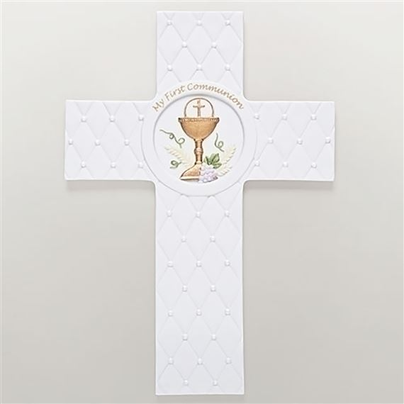 QUILTED PORCELAIN FIRST COMMUNION CROSS