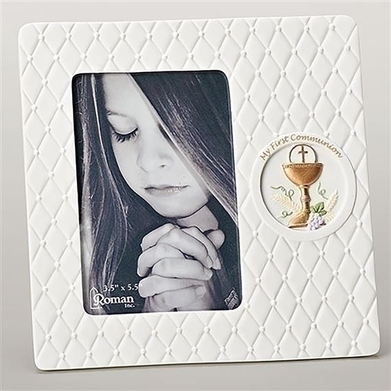 QUILTED PORCELAIN FIRST COMMUNION PICTURE FRAME