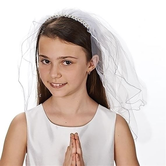 FIRST COMMUNION VEIL WITH PEARL HEADBAND