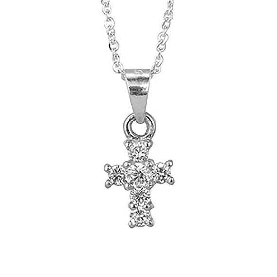 TINY CUBIC ZIRCONIA STERLING CROSS