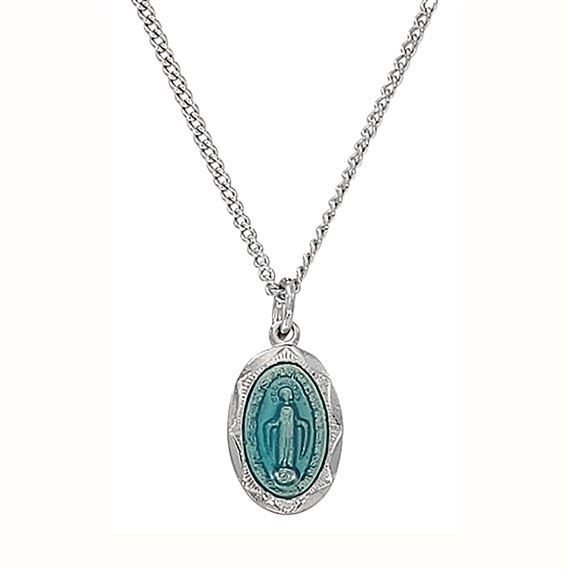 SMALL MIRACULOUS MEDAL - STERLING SILVER - BLUE