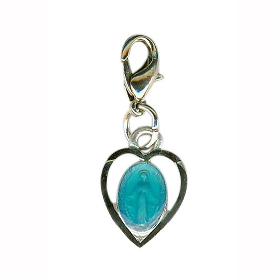 CLIP-ON BLUE HEART SHAPED MIRACULOUS MEDAL