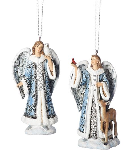 BLUE ANGELS WITH ANIMALS SET OF 2 ORNAMENTS