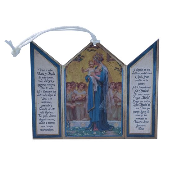 SPANISH MADONNA AND CHILD TRIPTYCH ORNAMENT