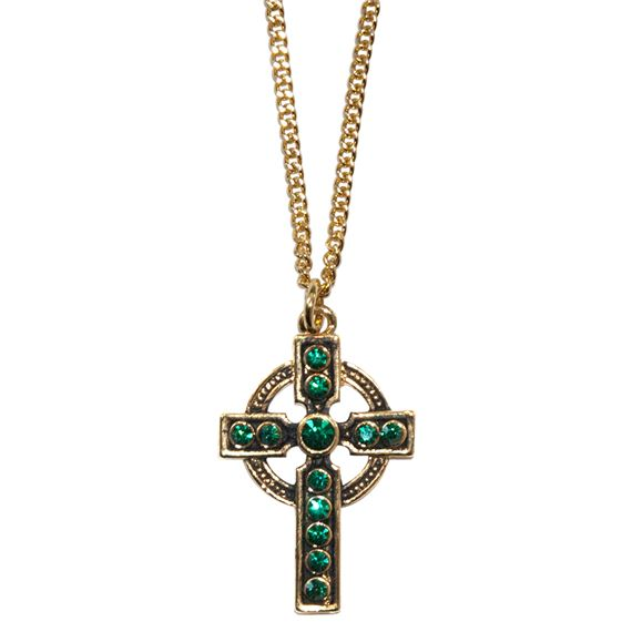 CELTIC CROSS NECKLACE WITH GREEN STONES