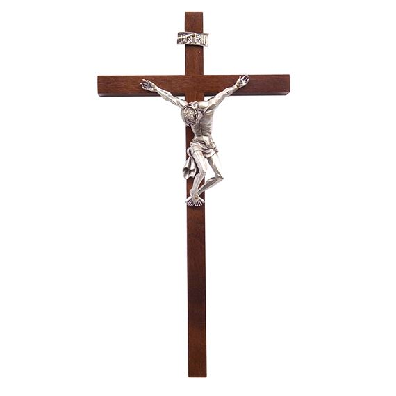 WALNUT PAINED JESUS CRUCIFIX