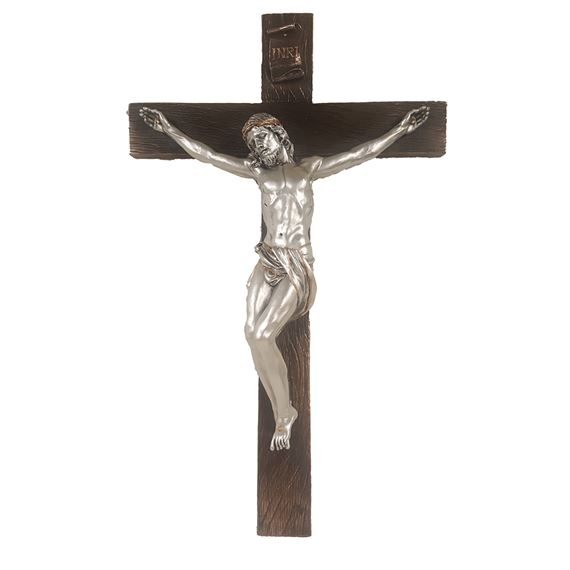 COLD CAST BRONZE CRUCIFIX WITH PEWTER FINISH