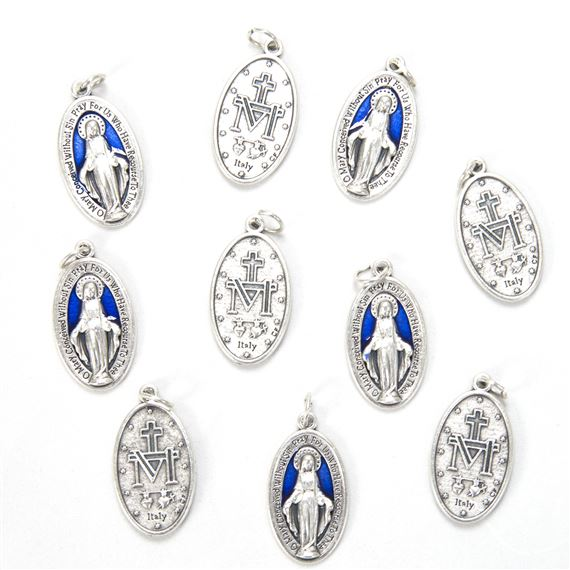 MIRACULOUS MEDAL WITH BLUE ENAMEL (PACK OF 10)