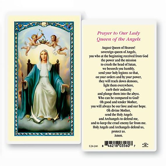 LAMINATED HOLY CARD - QUEEN OF THE ANGELS
